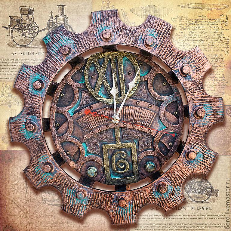 Стимпанк часы настенные