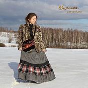 Одежда ручной работы. Ярмарка Мастеров - ручная работа Серая юбка с огоньком. Handmade.