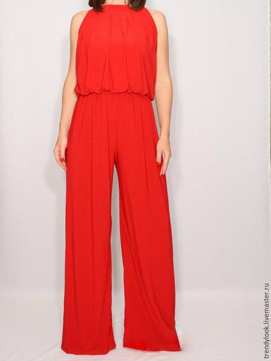 Комбинезоны ручной работы. Ярмарка Мастеров - ручная работа. Купить Красный Комбинезон с широкими штанами женский летний. Handmade.