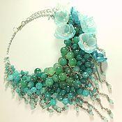 Украшения handmade. Livemaster - original item Turquoise Parfait. Choker, removable floral decor. Handmade.