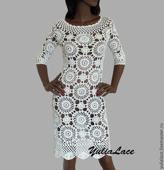 Платья ручной работы. Ярмарка Мастеров - ручная работа. Купить Вязаное платье. Handmade. Белый, платье вязаное, вязаное платье
