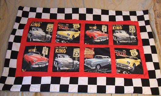 Текстиль, ковры ручной работы. Ярмарка Мастеров - ручная работа. Купить Одеяло покрывало Рэтро машины (23 февраля). Handmade.