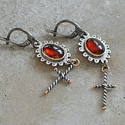 Earrings handmade. Livemaster - original item Earrings with hessonite, silver, Goldfield, copper. Handmade.