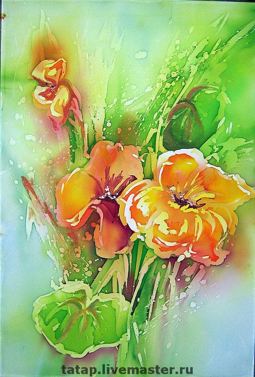 Картины цветов ручной работы. Ярмарка Мастеров - ручная работа. Купить Букет. Handmade. Букет, цветы, салатовый, голубой, оранжевый