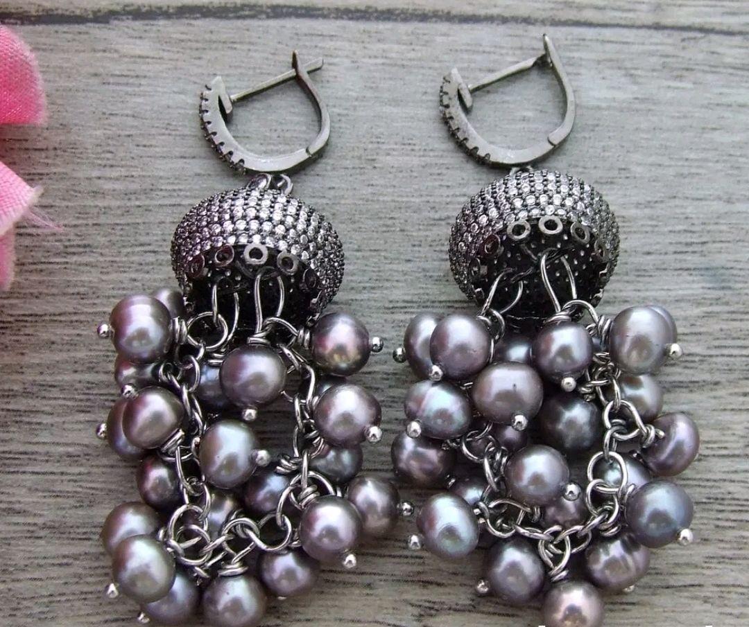 Pendientes 'Negro tesoro' de la plata con perlas, Earrings, Krasnodar,  Фото №1