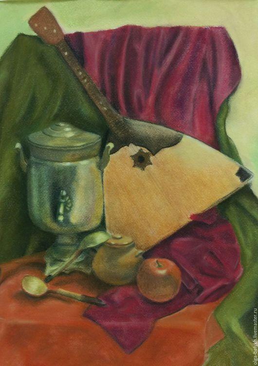Натюрморт ручной работы. Ярмарка Мастеров - ручная работа. Купить Самовар с балалайкой. Handmade. Оливковый, пастель, балалайка, пастель сухая