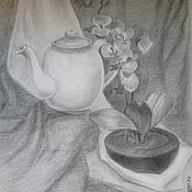 """Картины ручной работы. Ярмарка Мастеров - ручная работа Рисунок """"Натюрморт с орхидеей"""". Handmade."""