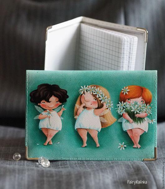 Блокнот кожаный с феечками-ромашками от Elina Ellis  Магазин волшебных феечек. FairyKalinka http://www.livemaster.ru/kvantik