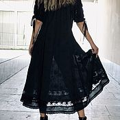 Одежда handmade. Livemaster - original item Cotton dress summer black boho Arabella black. Handmade.