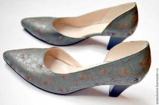 """Обувь ручной работы. Ярмарка Мастеров - ручная работа. Купить Туфли """"Зеленая поляна"""". Handmade. Зеленый, туфли из кожи"""