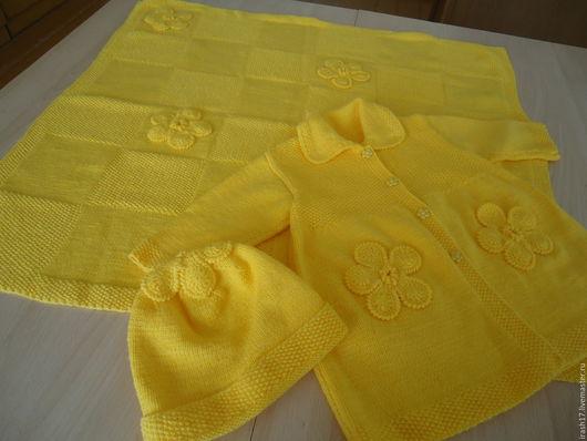 Для новорожденных, ручной работы. Ярмарка Мастеров - ручная работа. Купить Комплект для девочки. Handmade. Желтый, пальто, плед