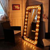 Для дома и интерьера ручной работы. Ярмарка Мастеров - ручная работа Гримёрное зеркало с лампочками. Handmade.