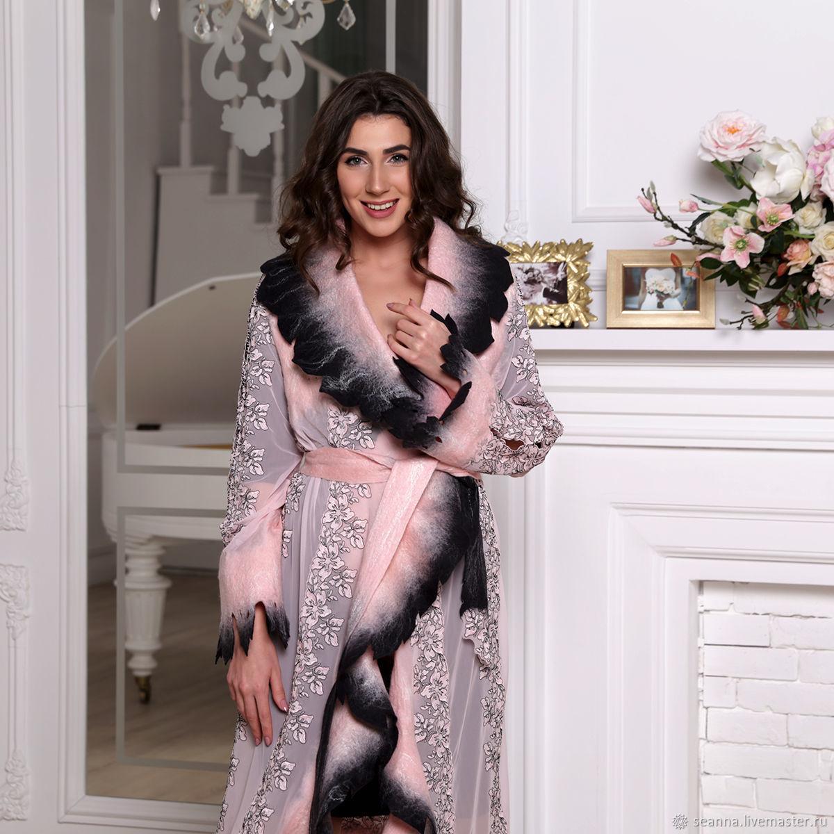 """Верхняя одежда ручной работы. Ярмарка Мастеров - ручная работа. Купить Роскошное пальто-накидка """"Розовые грезы"""" ручной работы. Handmade."""