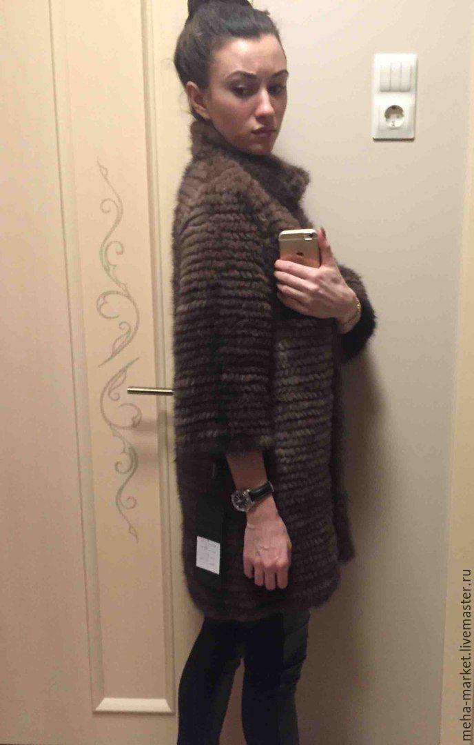 пальто из вязаной норки Elena Black купить в интернет магазине