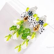 Серьги с подвесками длинные, крупные. Орхидеи. Цветы. Серебро Стекло