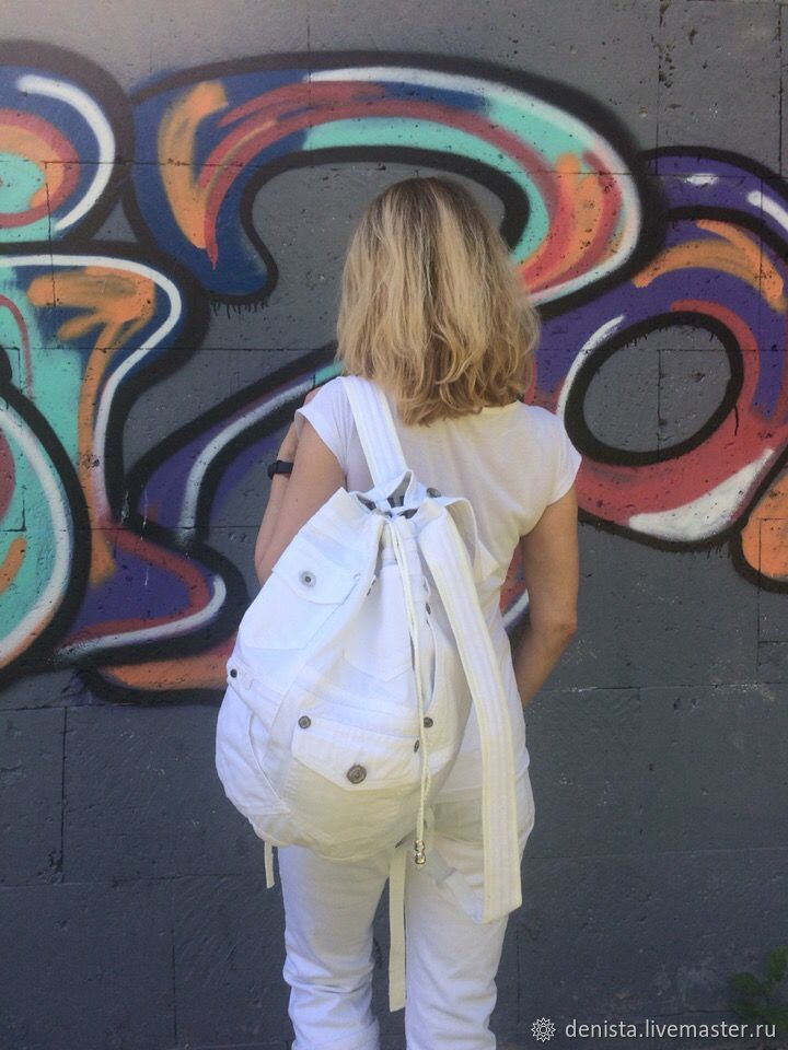 Denim Pocket White backpack, Backpacks, Saratov,  Фото №1