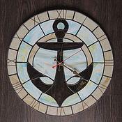 """Для дома и интерьера ручной работы. Ярмарка Мастеров - ручная работа Часы настенные из стекла """" Попутный ветер"""". Handmade."""