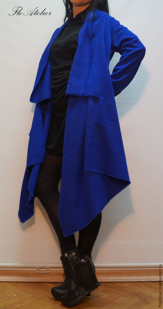 Верхняя одежда ручной работы. Ярмарка Мастеров - ручная работа. Купить Синий свободный ассимметричный кардиган/F1292. Handmade. Тёмно-синий