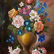 Картины и панно handmade. Livemaster - original item Oil painting Dutch Bouquet with cornflowers. Handmade.