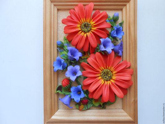 """Картины цветов ручной работы. Ярмарка Мастеров - ручная работа. Купить """"Календула"""" - картина, панно, полимерная глина. Handmade."""