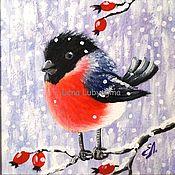 """Картины ручной работы. Ярмарка Мастеров - ручная работа """" Снегирь """" картина подарок на новый год. Handmade."""
