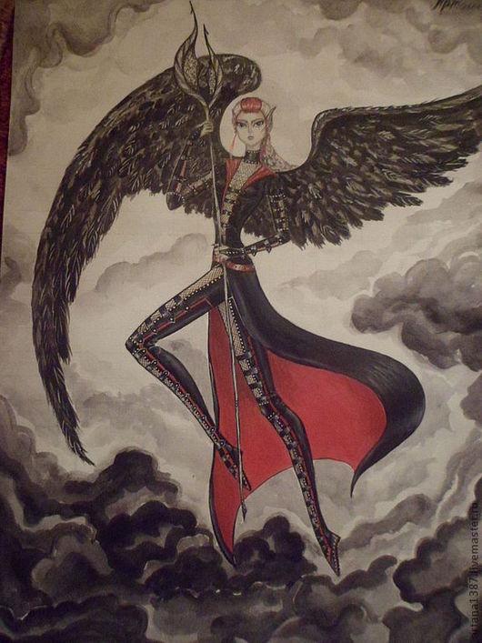 """Фэнтези ручной работы. Ярмарка Мастеров - ручная работа. Купить Репродукция картины """"Тёмный ангел 2"""". Handmade. Ангел, репродукция"""