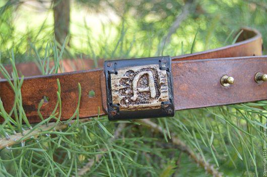 Пояса, ремни ручной работы. Ярмарка Мастеров - ручная работа. Купить Ремень из кожи буйвола с пряжкой из рога лося. Handmade.