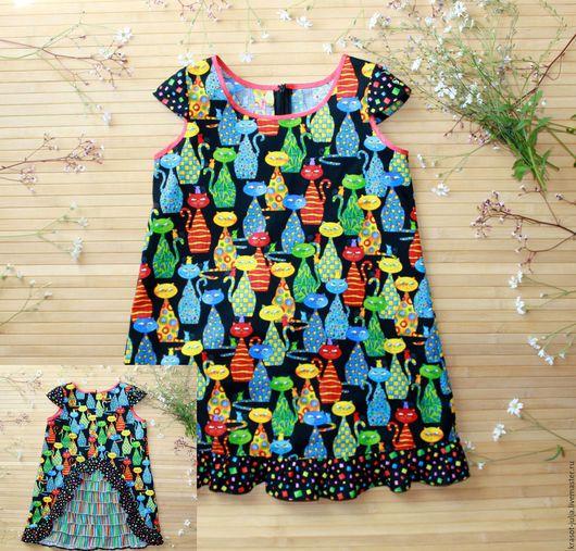 Одежда для девочек, ручной работы. Ярмарка Мастеров - ручная работа. Купить Платье полное котов) платье сарафан для девочки. Handmade.