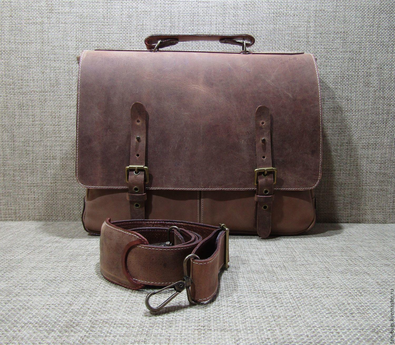 Portfolio: Men's leather bag ALEXANDER walnut color, Brief case, Izhevsk,  Фото №1