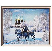 """Картины и панно ручной работы. Ярмарка Мастеров - ручная работа Панно """"Тройка лошадей"""". Handmade."""