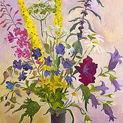 Картины и панно ручной работы. Ярмарка Мастеров - ручная работа Картина маслом букет полевых цветов. Handmade.