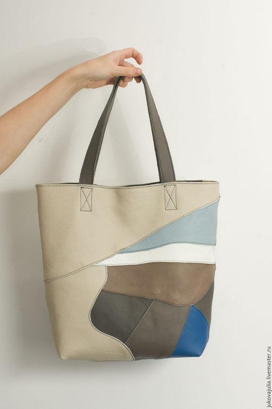Женские сумки ручной работы. Ярмарка Мастеров - ручная работа. Купить Сумка разноцветная из натуральной кожи из лоскута пакет шоппер. Handmade.