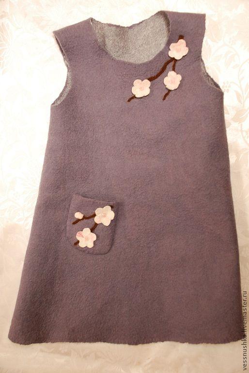 Одежда для девочек, ручной работы. Ярмарка Мастеров - ручная работа. Купить Сарафан  для девочки Сакура. Handmade. Серый, однотонный