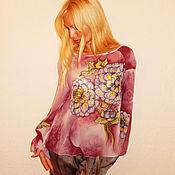 Одежда ручной работы. Ярмарка Мастеров - ручная работа блузка-реглан - Георгины. Handmade.