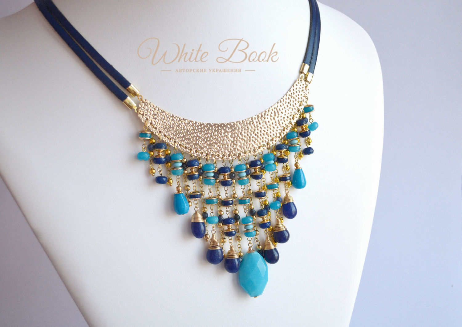 Necklace in Egyptian style, sapphire, quartz, gold plated, Necklace, Moscow,  Фото №1