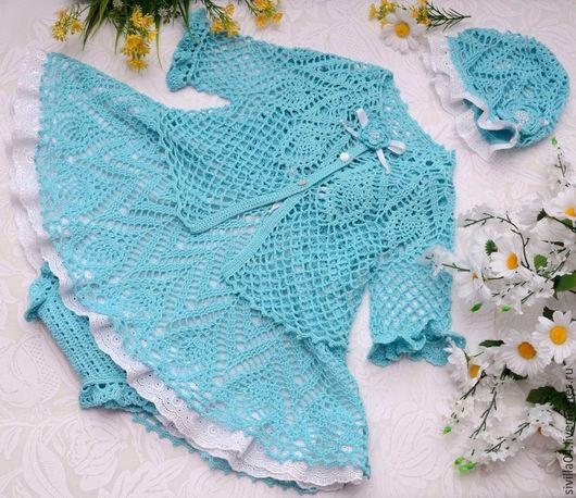 """Одежда для девочек, ручной работы. Ярмарка Мастеров - ручная работа. Купить Летний комплект для девочки """"Облачко"""". Handmade. Комбинированный"""