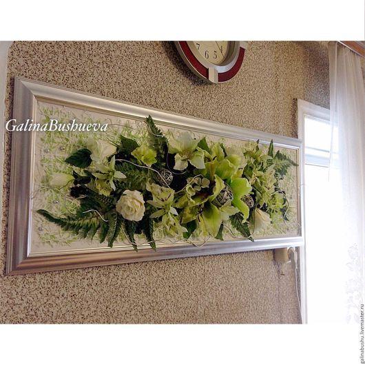 """Интерьерные композиции ручной работы. Ярмарка Мастеров - ручная работа. Купить """" Зелёные лилии """" флористический коллаж.. Handmade."""