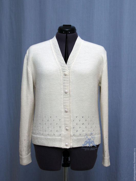Кофты и свитера ручной работы. Ярмарка Мастеров - ручная работа. Купить Кофточка вязаная женская Подснежники, шерсть, ажурная. Handmade.
