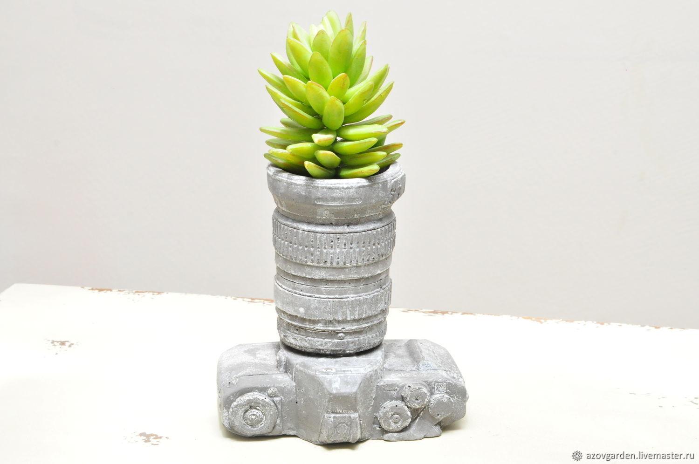 Pots-glass Camera made of concrete gift to the photographer, Figurine, Azov,  Фото №1