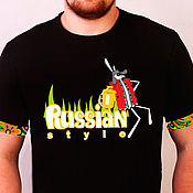 T-shirts handmade. Livemaster - original item T-shirt RS Rabbit and Samovar men black/white. Handmade.