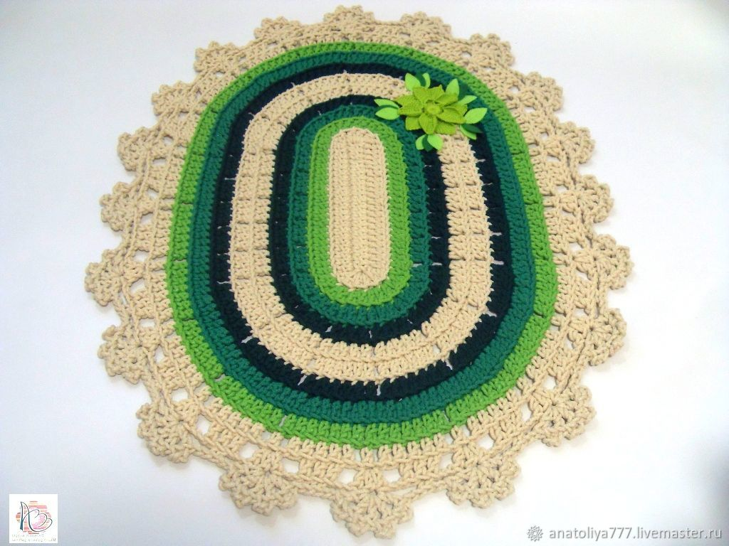 Knitted rug crocheted from the cord Floral green, Carpets, Kabardinka,  Фото №1