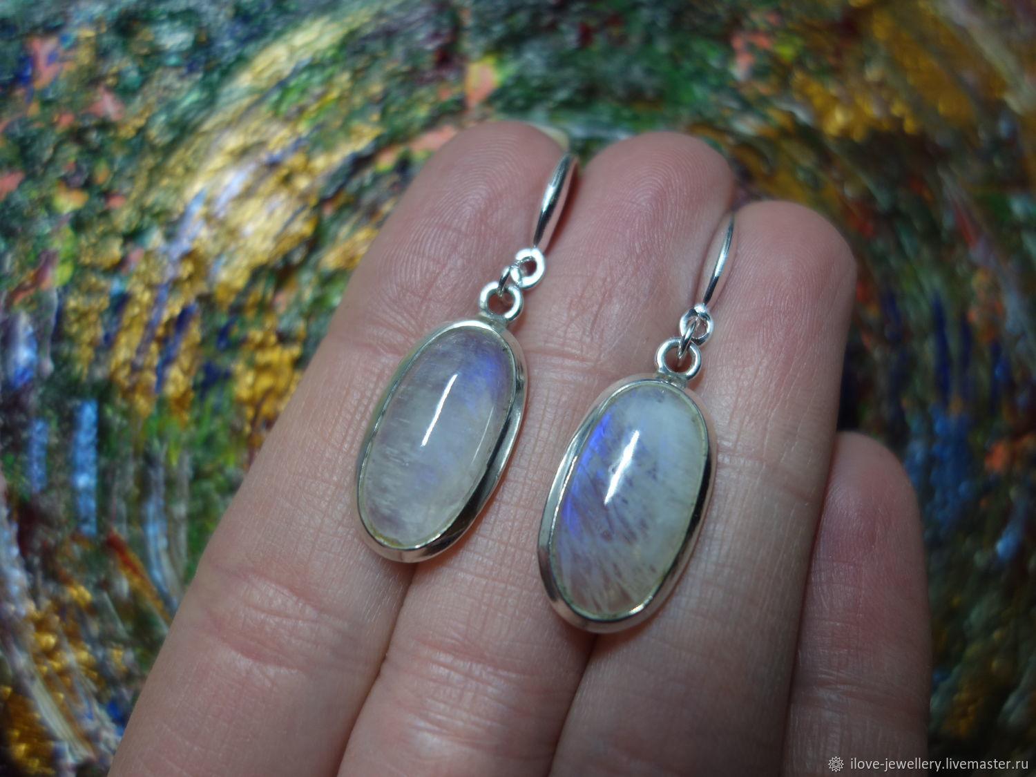'Anais'-a wonderful silver earrings with moonstone by agulara, Earrings, Moscow,  Фото №1