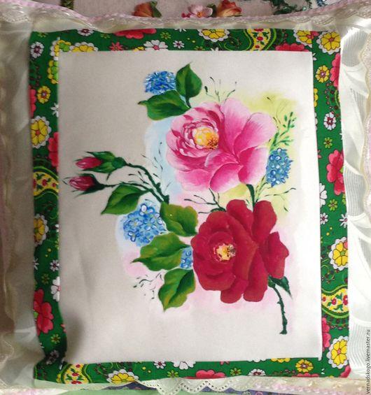 Текстиль, ковры ручной работы. Ярмарка Мастеров - ручная работа. Купить Подушка ручная роспись. Handmade. Бежевый, розы, молния