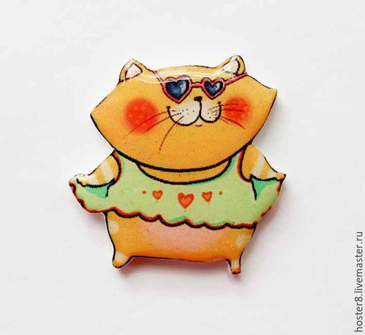 """Броши ручной работы. Ярмарка Мастеров - ручная работа. Купить Брошь """"Котя Красотка""""(0175). Handmade. Рыжий, кошка, кошечка"""
