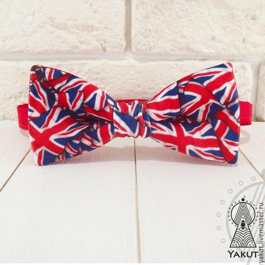 Галстуки, бабочки ручной работы. Ярмарка Мастеров - ручная работа. Купить Галстук бабочка Британка атлас / бабочка-галстук британский флаг. Handmade.