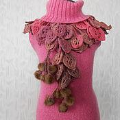"""Аксессуары ручной работы. Ярмарка Мастеров - ручная работа Шарф с мехом норки """" Розовый фламинго"""". Handmade."""