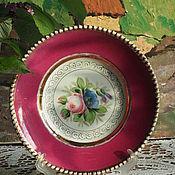 Винтаж handmade. Livemaster - original item Hand-painted plate, Kuznetsov, before 1917. Handmade.