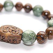 Фен-шуй и эзотерика ручной работы. Ярмарка Мастеров - ручная работа Браслет из Серафинита и Бронзита, натуральные камни. Handmade.
