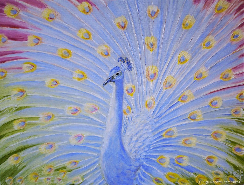 Авторская картина Голубой павлин, маслом на холсте, Картины, Иваново,  Фото №1