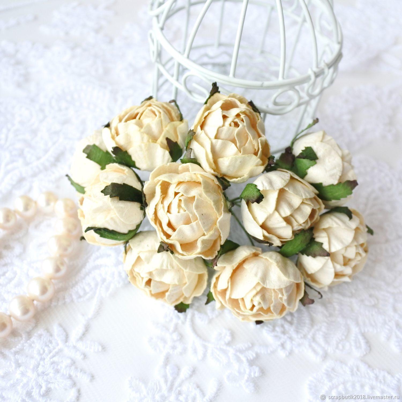 Бумажные цветы Ранункулюсы Светло-желтые Декор для скрапбукинга, Цветы, Астрахань,  Фото №1